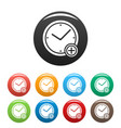 time plus icons set simple vector image