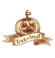 Trick or treat retro pumpkin sketch vector image