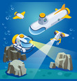 underwater vehicles composition vector image
