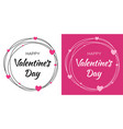 valentines day card design set heart circle frame vector image vector image