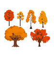 yellow orange and red forest trees isolated vector image vector image