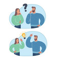 young couple question and solution vector image vector image