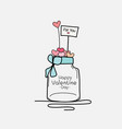 valentine day card with mason jars and heart vector image