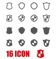 grey shield icon set vector image