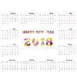 2018 calendar templatecalendar for 2018 year vector image vector image