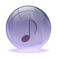 3D glass sphere and music icon vector image vector image