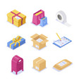 a set isometric objects on topic mail vector image vector image