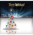 Abstract Christmas with silhouette of city and vector image vector image