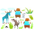 animals characters for kids design moose bear vector image
