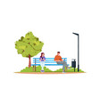 annoyed woman man smoking and drinking in park vector image vector image