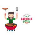 barbecue party cartoon people vector image vector image