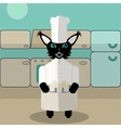 Beige and green green cat cook in the kitchen vector image vector image
