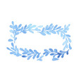 blue fern leaves ivy wreath watercolor frame vector image vector image