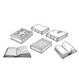 books collection pile books hand drawn vector image vector image