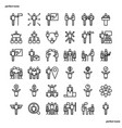 business cooperation outline icons perfect pixel vector image