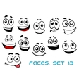 Cartoon faces with various emotions vector image vector image