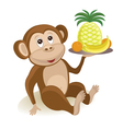 Cartoon monkey with fruits vector image