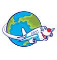 cartoon plane flying around globe vector image vector image