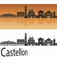 Castellon skyline in orange vector image vector image