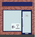click and collect sign in shop window vector image vector image