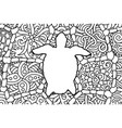 coloring book page with turtle white silhouette vector image vector image