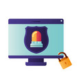computer screen with shield isolated icon vector image vector image