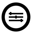 control panel icon black color in circle vector image vector image