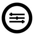 control panel icon black color in circle vector image vector image