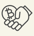 cryptocurrency in hand line icon bitcoin and arm vector image