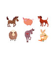 cute cartoon farm animals set horse sheep vector image
