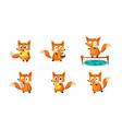 cute little fox doing different activities set vector image vector image