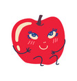 cute red apple with smiling face sweet adorable vector image