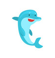 dolphin happily jumping out of water cartoon sea vector image vector image