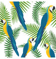 exotic bird and tropical leaves background vector image vector image