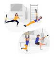 fit people working out on trx doing bodyweight vector image