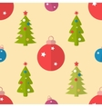 Flat seamless pattern with fir trees and baubles