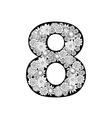Hand drawn floral alphabet design Digit 8 vector image