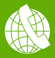 handset and globe icon green vector image vector image