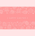 happy easter pink background with ornamental eggs vector image vector image
