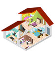 house in cutaway isometric view vector image vector image