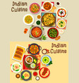 indian cuisine healthy dinner icon set design vector image vector image