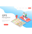 isometric flat landing page tempate of vector image vector image