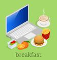 isometric having breakfast in front of computer on vector image vector image