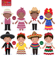 Kids in different traditional costumes Jamaica vector image