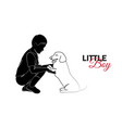 little child baby little boy playing with puppy vector image vector image