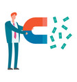 magnet in hand attracts money vector image