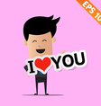 Man handling love tag sign - - EPS10 vector image