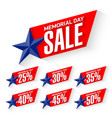 memorial day sale discount labels vector image vector image