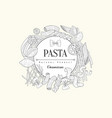 pasta collection vintage sketch vector image