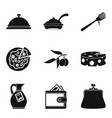 prepare food icons set simple style vector image vector image